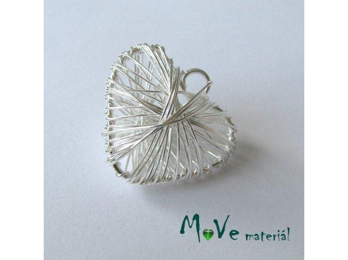 Přívěsek 27mm drátované srdce stříbrné 1ks