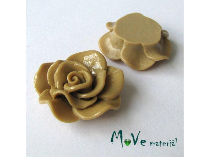 Kabošon květ lesklý B1 - resin - 1ks, béžová