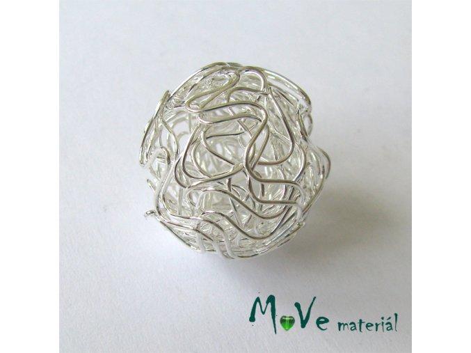 Kovový korálek klubíčko, stříbrné, 24mm, 1ks