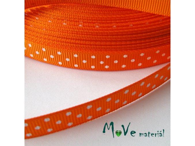 Stuha rypsová puntík 10mm 1m, oranžová