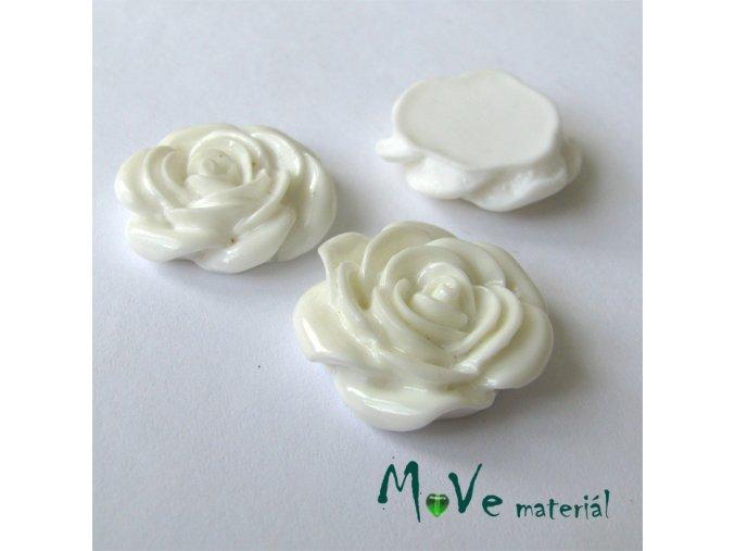Kabošon růže lesklá D5 - resin - 2ks, bílý