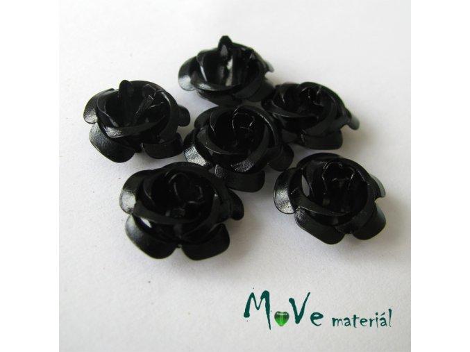 Korálek růžička 15mm, 6ks černá