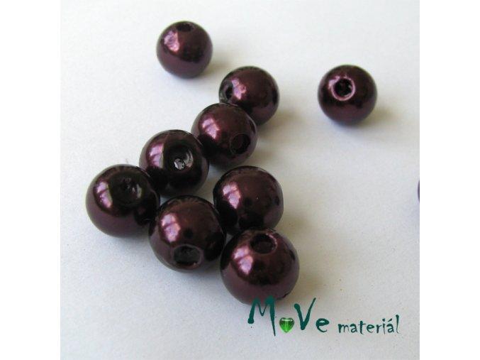 Akrylové voskové perle, 10ks, vínové