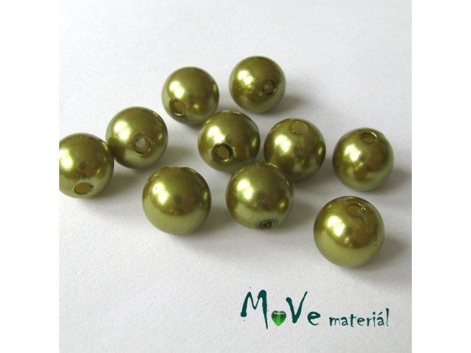 Akrylové voskové perle, 10ks, olivové