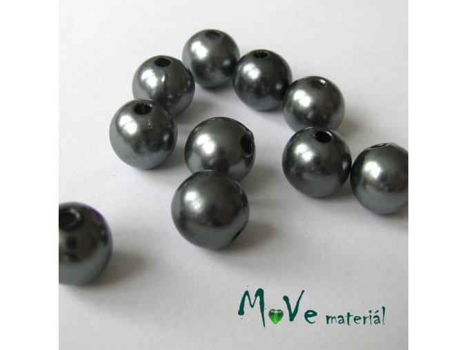 Akrylové voskové perle, 10ks, šedé
