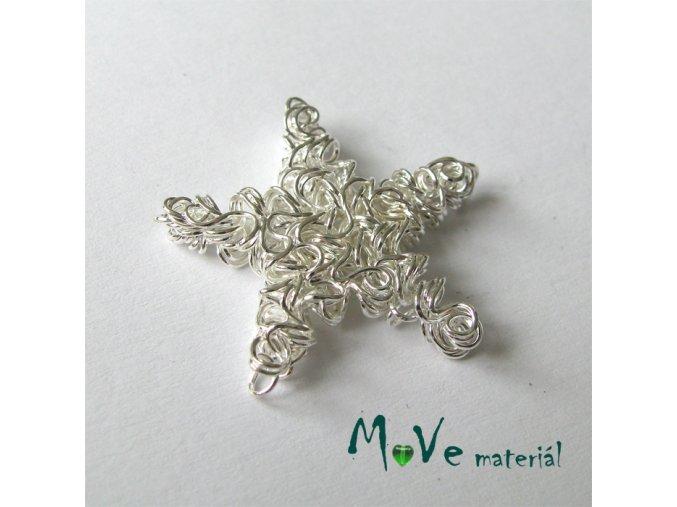 Kovový korálek hvězda, stříbrný, 25mm, 1ks
