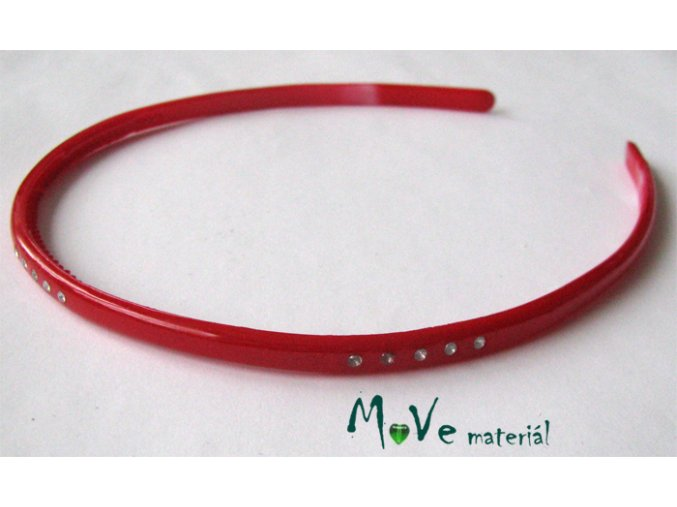 Čelenka jednoduchá plastová s kamínky červená