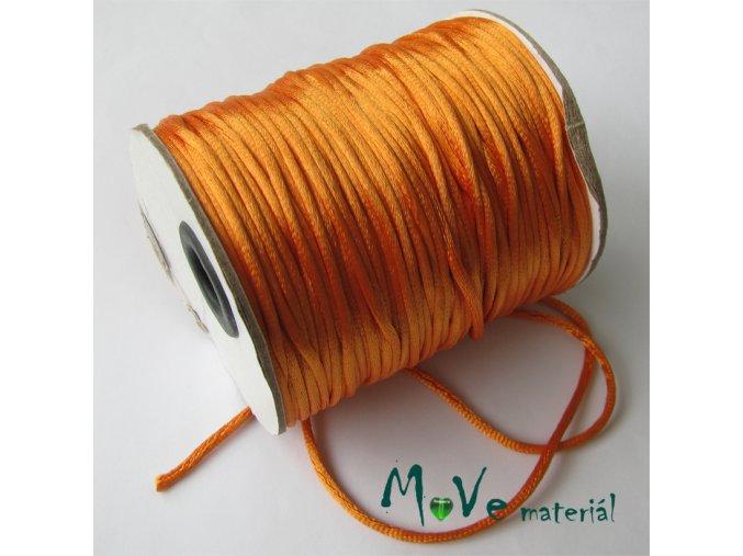 Šňůra 2mm saténová, pomerančová, 1m