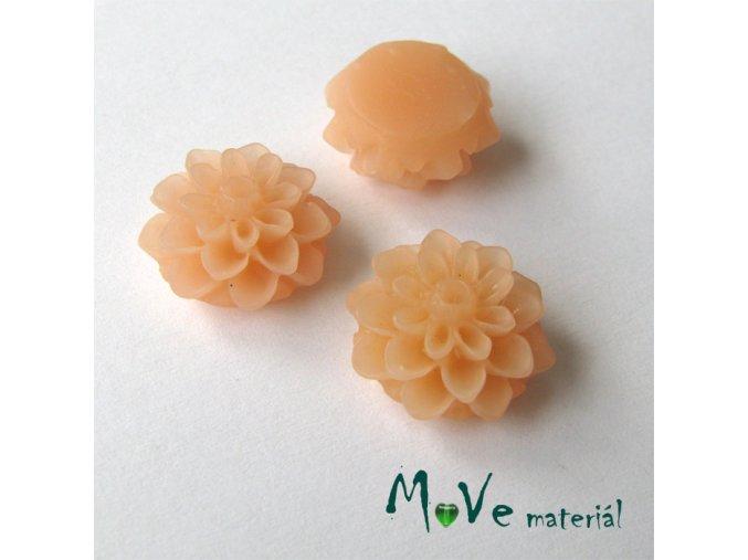Kabošon květ transparentní A6 - resin-2ks, broskvový