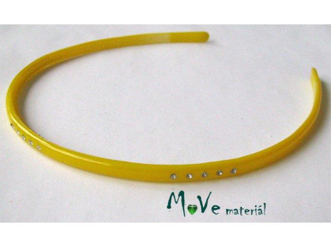 Čelenka jednoduchá plastová s kamínky žlutá
