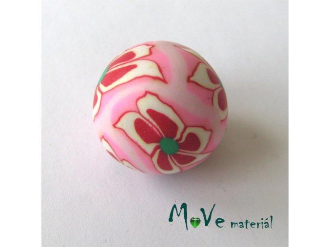 Fimo korálek 20mm, 1kus, růžový