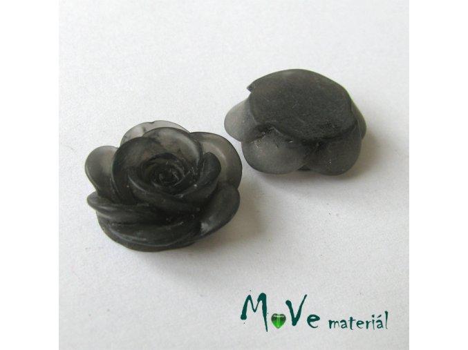 Kabošon květ transparentní A4 - resin - 2ks, černý