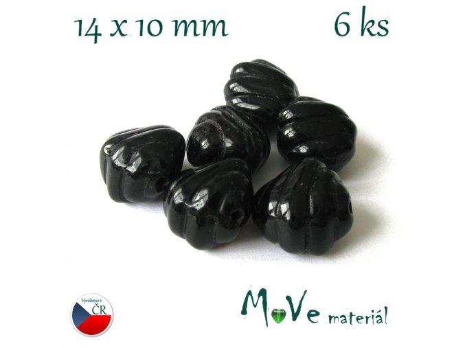 České skleněné tvarované korálky 14x10mm 6ks