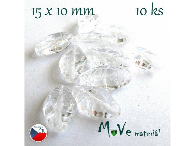 České skleněné korálky 15x10mm 10ks, čiré