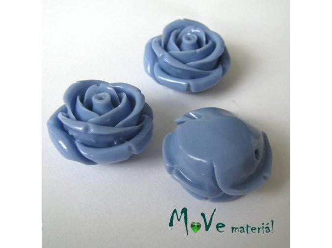 Resinový korálek RŮŽE, 1ks, modrá
