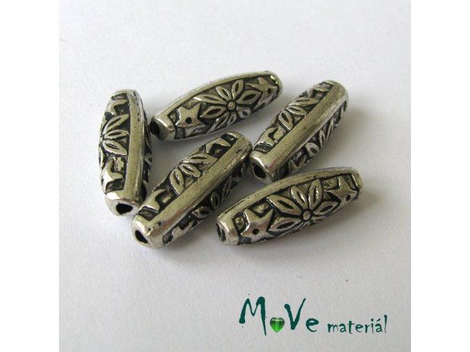 Akrylový korálek imitace kovu, 5ks, starostříbro