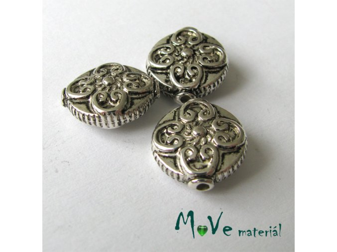 Akrylový korálek imitace kovu, 3ks, starostříbro