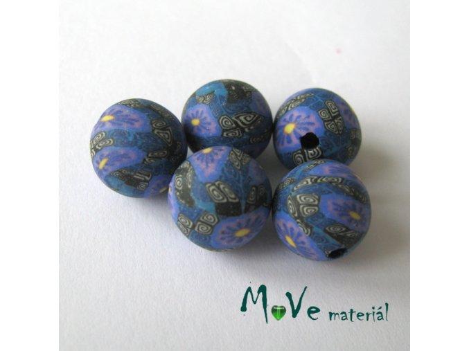 Fimo korálky 10mm, 5kusů, fialovočerné