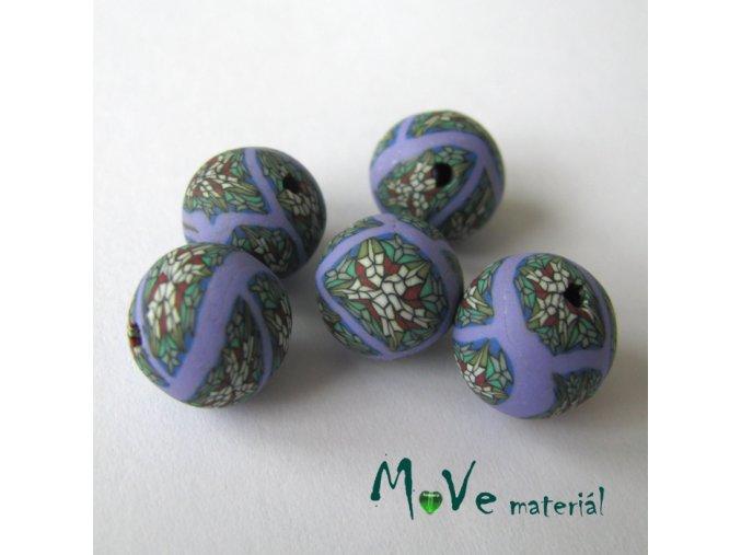Fimo korálky 10mm, 5kusů, fialovozelené