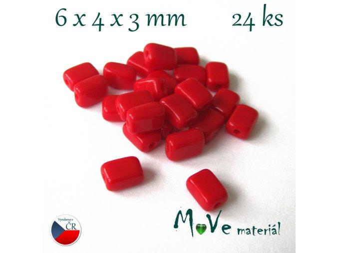 České skleněné korálky 6x4x3mm 24ks, červené