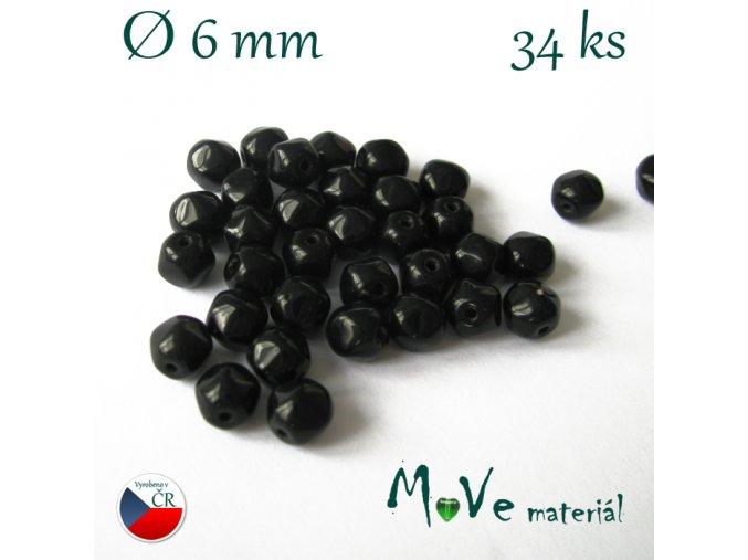 Český tvarovaný korálek černý 6x6mm 34ks