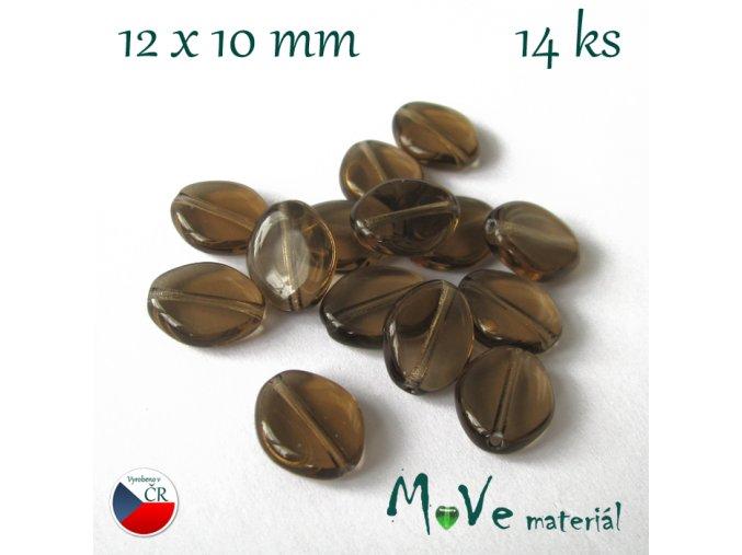 Český skleněný šváb 12x10mm 14ks, hnědý