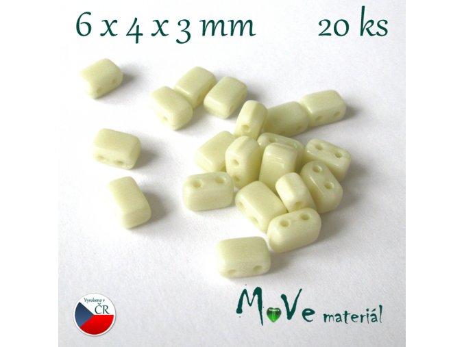 České skleněné korálky 6x4x3mm 20ks, krémové
