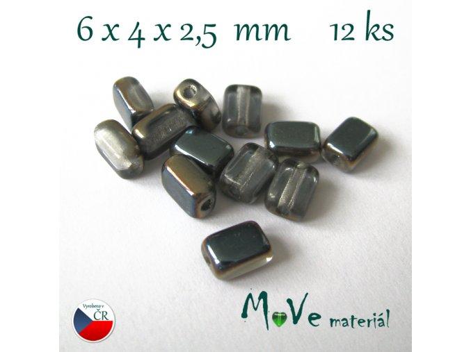 České skleněné korálky 6x4x2,5mm 12ks, šedé