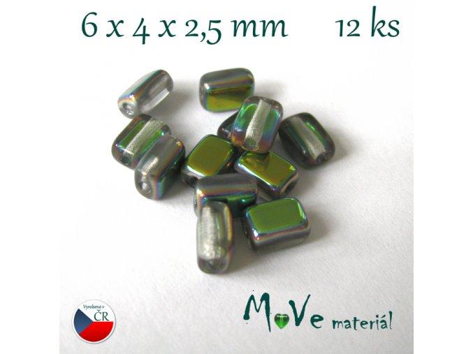 České skleněné korálky 6x4x2,5mm 12ks, měňavé