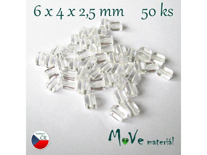 České skleněné korálky 6x4x2,5mm 50ks, čiré