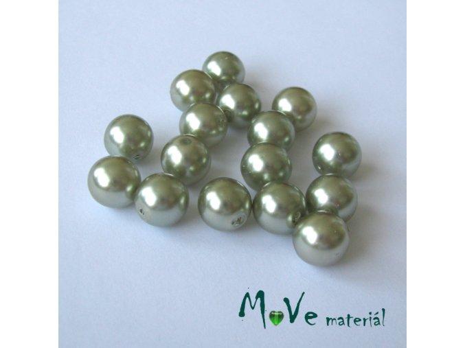 České voskové perle šedozelené 10mm, 16ks