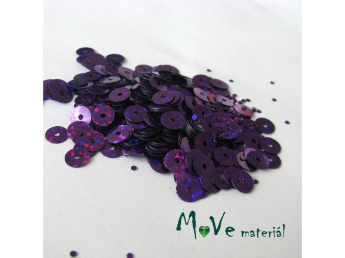 Flitry hladké holograf. 6mm, 5g, fialové