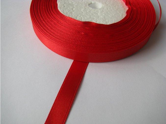 Stuha atlasová jednolící 9mm, 1m červená