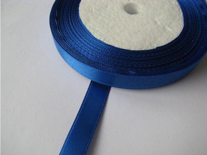 Stuha atlasová jednolící 9mm, 1m stř. modrá