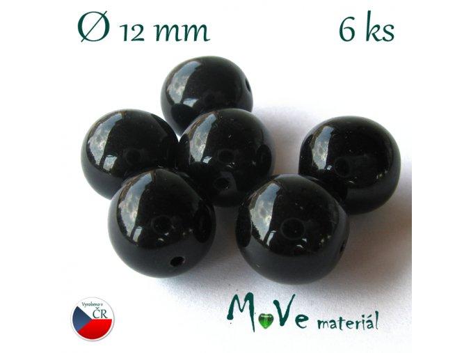 České skleněné černé kuličky 12mm 6ks
