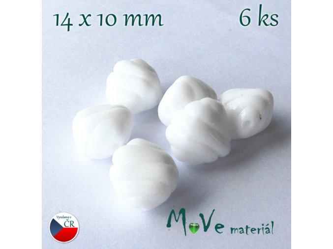 České skleněné tvarované korálky 14x10mm 6ks, bílé