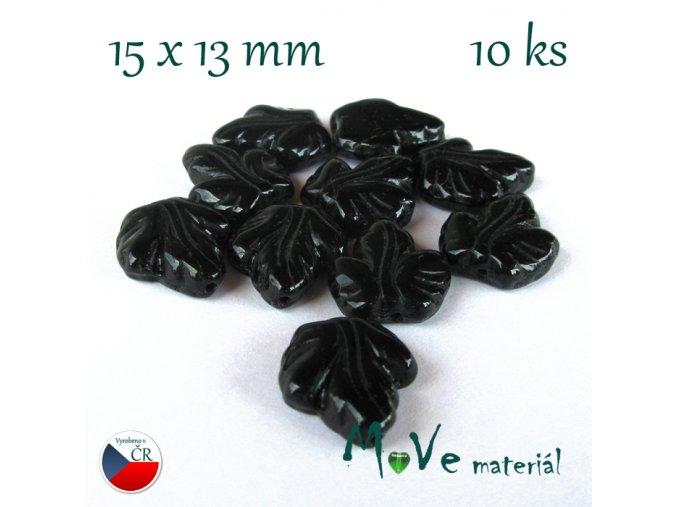 České skleněné korálky list 15x13mm 10ks, černé