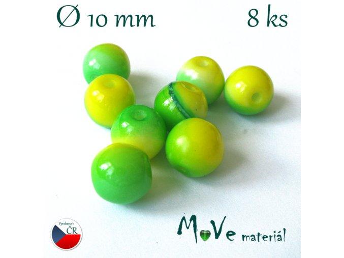 České skleněné žíhané kuličky 10mm 8ks, zelené