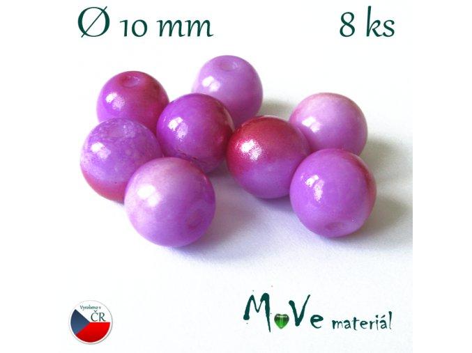 České skleněné žíhané kuličky 10mm 8ks, fialové