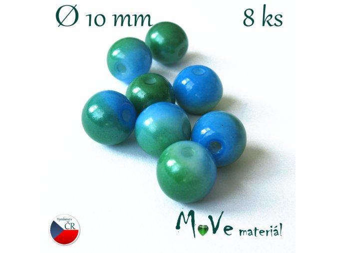 České skleněné žíhané kuličky 10mm 8ks, modré