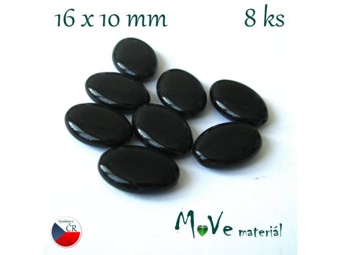 České korálky šváb 16x10 mm 8ks, černý