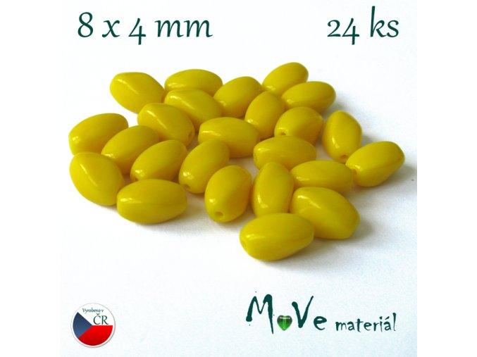 České hranaté olivky 8x4mm 24ks, žluté
