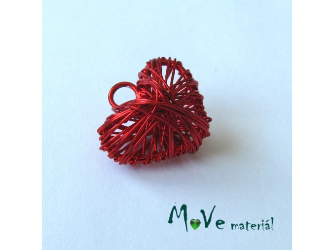 Přívěsek 20x22mm drátované srdce červené 1ks