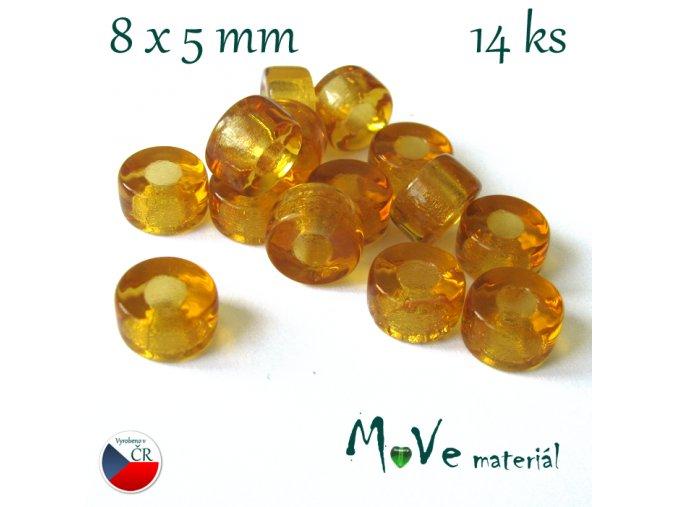 České skleněné korálky 8x5mm, 14ks, medové