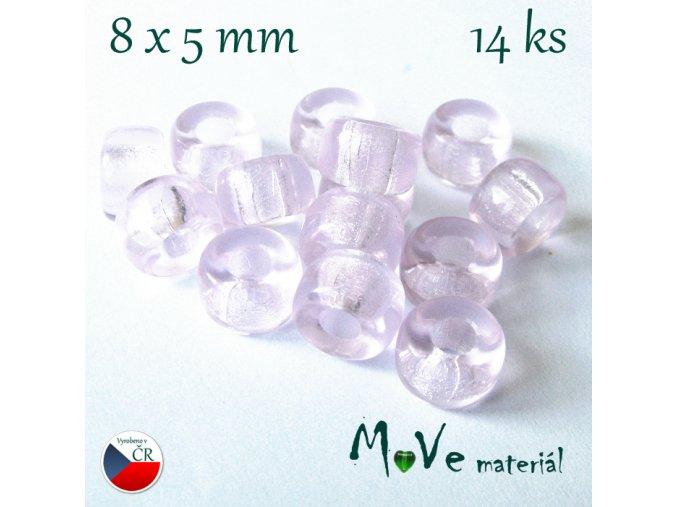České skleněné korálky 8x5mm, 14ks, růžové