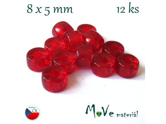 České skleněné korálky 8x5mm, 12ks, červené