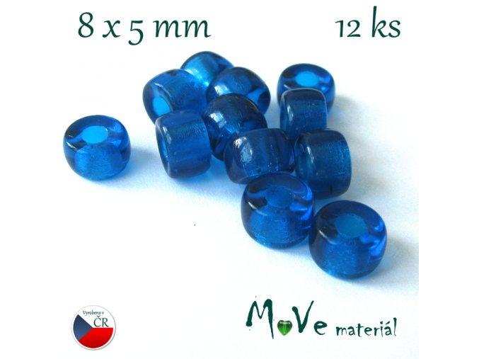České skleněné korálky 8x5mm, 12ks, modré