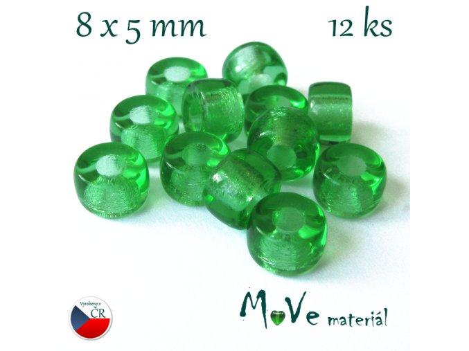České skleněné korálky 8x5mm, 12ks, zelené