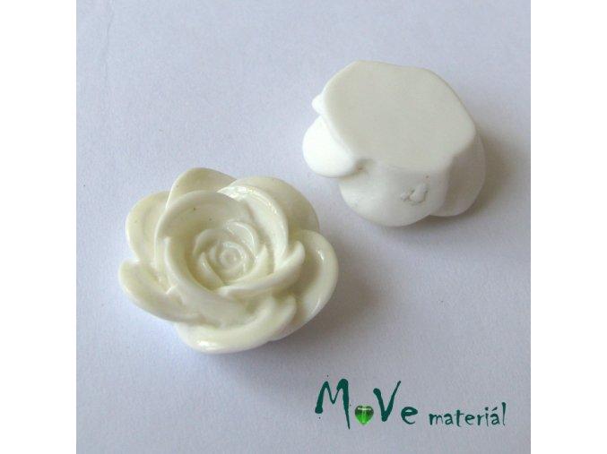 Kabošon květ lesklý A1 - resin - 2ks, slon. kost