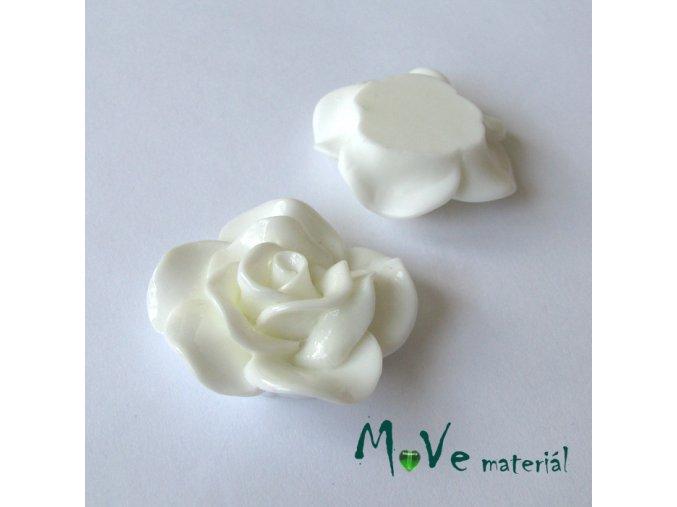 Kabošon květ lesklý B1 - resin - 1ks, bílý